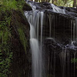 Gun Road Waterfall by Monroe Phillips - Landscapes Waterscapes