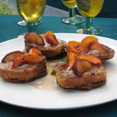 Pain Perdue with Fresh Peaches and Vanilla Butter