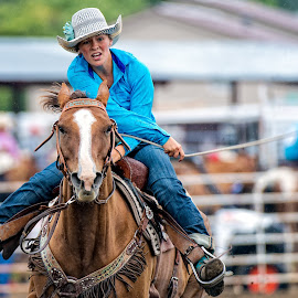 Bringing it Home by Bob Grandpre - Sports & Fitness Rodeo/Bull Riding ( speed, barrel race, horse, rodeo, cowgirl )
