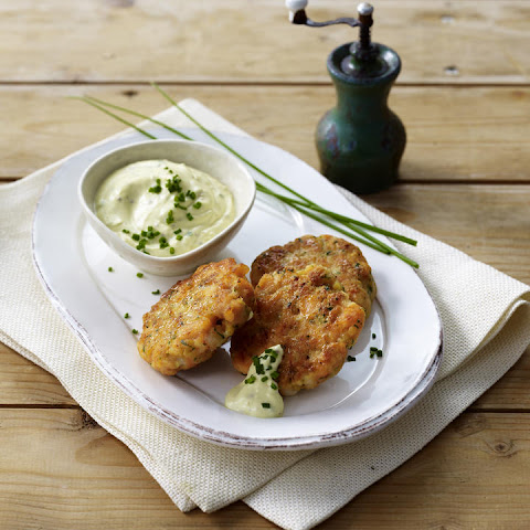 Fish and Shrimp Cakes with Mustard Chive Dip