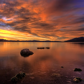 Pyramid Lake Morning Fire by Lee Molof - Landscapes Sunsets & Sunrises