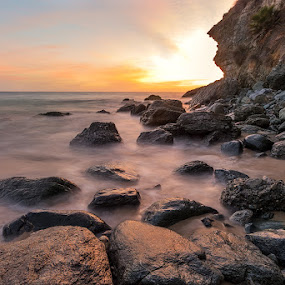 Thousand Steps by Clifford Swall - Landscapes Beaches ( laguna beach, waves, sunset, ocean, long exposure, beach, rocks )