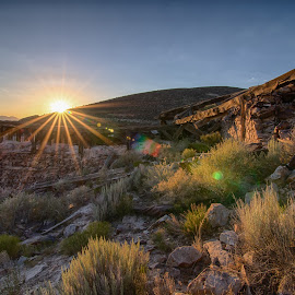 The Window Maker Mill by Dave Kelly - Landscapes Deserts ( gold mine, mining, delamar, desert, hdr, afternoon, ghost town, valley, sun, sun burst, nevada, sunset, caliente, ruins, sunshine, mine, gold )