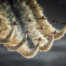 Sweeping The Darkness by Kelly Murdoch - Transportation Airplanes ( clouds, flight, red arrows, red, sky, reds, display, jets, planes, formation )