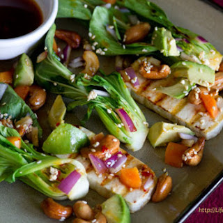 Vinaigrette Seared Baby Bok Choy & Tofu with Avocado and Roasted Sesame Cashews