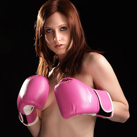 Cancer fighter by Paul Drajem - Nudes & Boudoir Boudoir ( boxing match, model, girl, fight, boxer, pink gloves, gloves, pink, fighter, portrait, cancer )