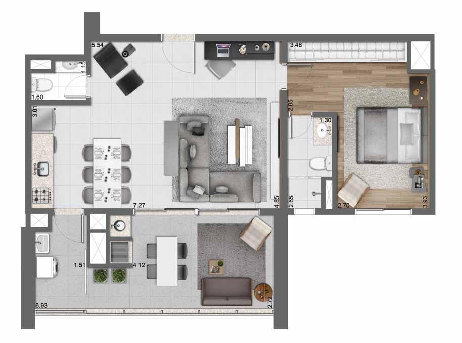 Planta Opção - 83 m²