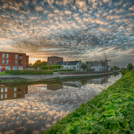 Fluffy eveningclouds above the harbor by Egon Zitter - City,  Street & Park  Neighborhoods ( dutch, sky, harbour, reflection, harbor, clouds )