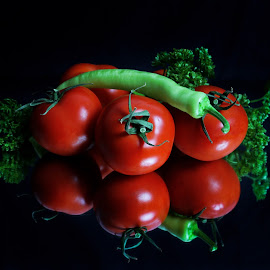 Reflection by Suzana Trifkovic - Food & Drink Fruits & Vegetables ( nutrition, reflection, tomato, food, healthy, chili )