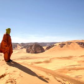 The Sahara by Omar Dakhane - Landscapes Deserts ( dunes, north africa, desert, nature, arab, tuareg, sahara desert, algeria, sahara, travel, landscape, africa, alone, man )