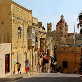 Victoria, Gozo by Francis Xavier Camilleri - City,  Street & Park  Street Scenes