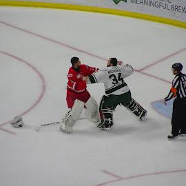 goalie fight 111 by John Pratt - Sports & Fitness Ice hockey ( hockey, goalie, fight, ice, checkers )