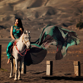 Lady and the horse by Gusti Adi R - People Portraits of Women