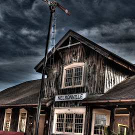 Trouble in Nelsonville by Russ Crane - Landscapes Travel ( scary, hdr, spooky, train, travel, storm )
