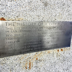 THE HISTORY OF A CITY BLOCK THIS SITE HAS PLAYED AN IMPORTANT ROLE IN SAN FRANCISCO'S PERFORMING ARTS HISTORY 1850-1868 THE (COL TOM) HAYES HOME AND GARDENS 1868-1872 HAYES PARK AND PAVILION ...