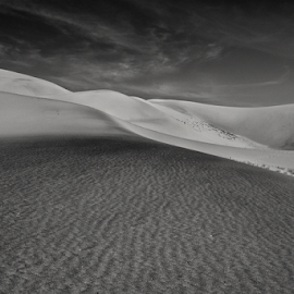 Walk the Black  by Michael Keel - Landscapes Deserts ( death valley, dunes, desert, ibex dunes, black and white, california )