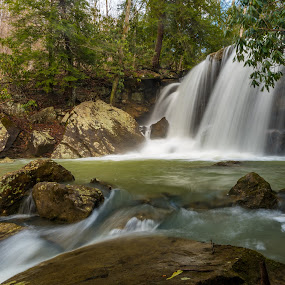 Twin Falls by Jason Lemley - Landscapes Waterscapes ( water, stream, waterfall, landscape, rocks )