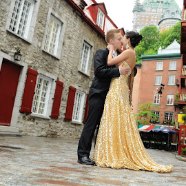 Quebec Street by Cédric Alexandre Poitras - People Couples ( quebec, bal, street, castle, couple, gold )