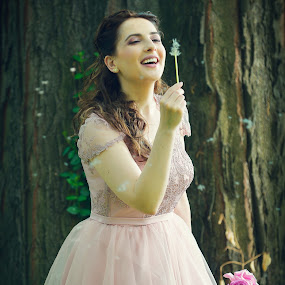 Fairytail by Costi Manolache - People Portraits of Women ( wind, tree, dress, pink, pretty, curly hair, flower )
