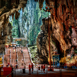 Batu Caves by Joey Rico - Landscapes Caves & Formations ( cave, liight, hindu, caves, temple, malaysia, batu, interior )