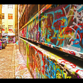 Hosier Lane, Melbourne City by Sassine El Nabbout - Digital Art Things ( hosier lane, graffiti, australia, melbourne city )