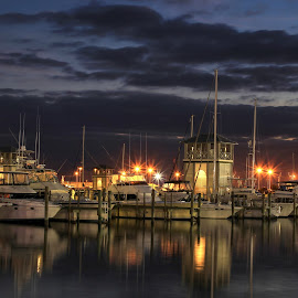 Night Lights by Pattie Buskirk Richardson - Uncategorized All Uncategorized ( calm, lights, serene, boats, evening )