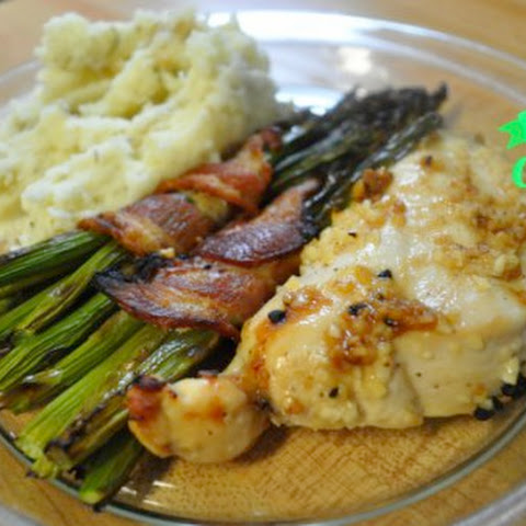 Lemon Garlic Chicken with Simple Mashed Potatoes and Bacon-Wrapped Asparagus [Intro to Cooking]