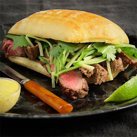 Flatiron Steak Sandwich With Cucumber, Ginger Relish & Ghost Chili Aioli