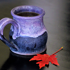 Autumn Coffee by Leah Zisserson - Artistic Objects Still Life ( cup, red, blue, autumn, coffee, leaf,  )