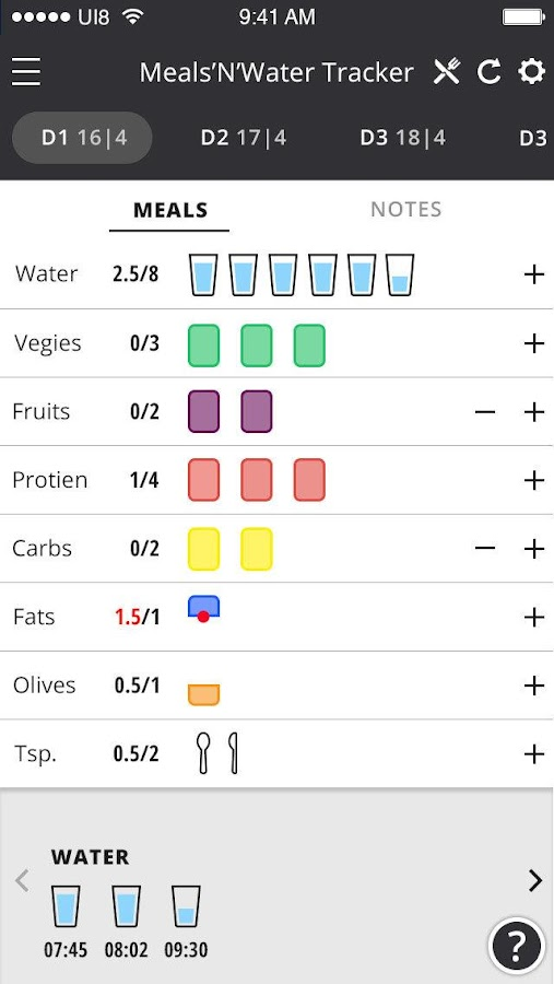 Meals'N'Water Tracker Screenshot 4