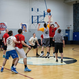 Basketball Game by Aaron Tobin - Sports & Fitness Basketball ( basketball, basketball game, tip off, sports, jcc game )