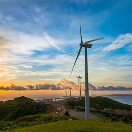 Sunset at Windmill by Alexander Nainggolan - Landscapes Sunsets & Sunrises ( alternative energy, wind turbine, sunset, electric, windill, electricity, renewable energy )