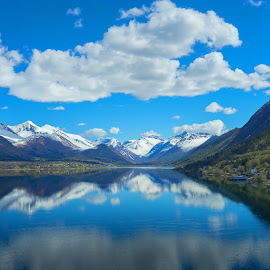 Fjords reflections by Michelle Louise Scoplin - Landscapes Mountains & Hills ( mountains, snow, reflections, fjord, norway )