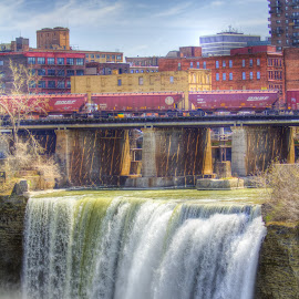 High Falls and Day trains by JERry RYan - City,  Street & Park  Historic Districts