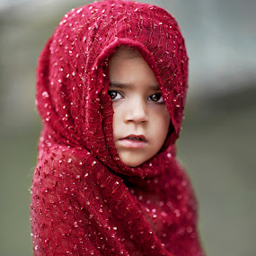 Toddler in Red by Angel Solomon Caracciolo - Babies & Children Toddlers ( child, red, girl, scarf, toddler )