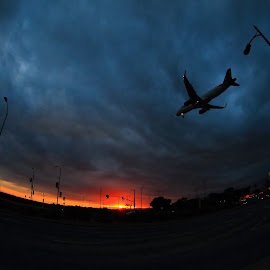 Sunset Arrival by James L. Neihouse - Transportation Airplanes