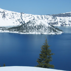 Blue Crater by DJ Cockburn - Landscapes Waterscapes ( oregon, volcano, crater lake, snow, pine, island )