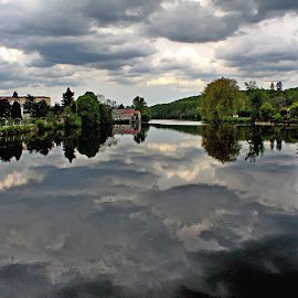 A Gathering Storm by John Harbach - Landscapes Cloud Formations ( reflection, confolens, cloud, france, charente, river, vienne )