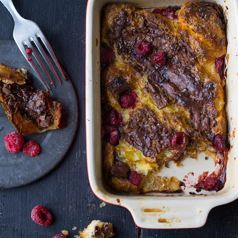 Croissant Pudding with Nutella and Raspberries