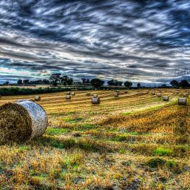 harvest drama by Ray Heath - Landscapes Prairies, Meadows & Fields ( field, uk, sky, plane trail, hay bales, summer, harvest, landscape, derbyshire,  )