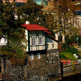 Prague Boat House  by Natalia Donets - City,  Street & Park  Neighborhoods ( mala strana, riverside, boats, vltava, czech republic, house, prague )