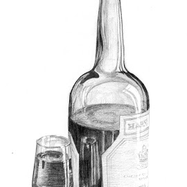 Sherry by Sally Turner - Drawing All Drawing ( wine, aperatif, beverage, harveys bristol creme, alcohol, drink, glass, sherry, bottle, digestive, mother's ruin, tipple )