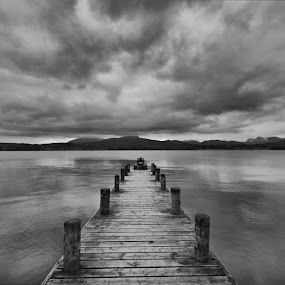 Jetty At Lake Windermere by Sandra Cockayne - Landscapes Waterscapes ( wooden jetty, jetty on lake, cumbria, windermere, sandra cockayne, lake windermere, lake, jetty, the lakes, the lake district,  )