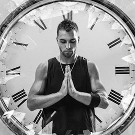 Now Or Never by Kyle Re - Digital Art People ( prayer, monochrome, clock, shattered, black and white, monotone, people, broken, contrast, bold, time, glass, man )