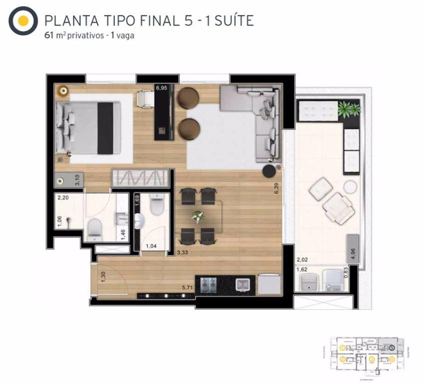 Planta Tipo Final 5  - 61 m²