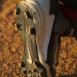 These Shoe's Are Made For Running by Brian  Shoemaker  - Sports & Fitness Baseball ( cleats, baseball, running )