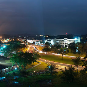One Night in Gadong by Rashid Mohamad - City,  Street & Park  Vistas ( lights, light trail, vista, street, gadong, night )