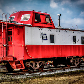 Wabash Caboose by Liam Douglas - Transportation Trains ( clouds, sky, caboose, railway, blue, railroad, cars, outdoors, white, train, tracks )