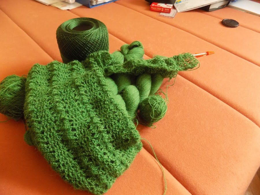 green, i love you green by Marija Čaušić - Artistic Objects Clothing & Accessories ( orange, threads, knitted, needles, room,  )
