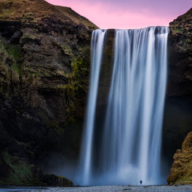 Skógafoss by Rafal Rozalski - Landscapes Waterscapes ( iceland, sunset, waterfall, skógafoss, landscape )